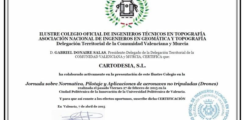 CARTODESIA colabora en una Jornada sobre NORMATIVA, PILOTAJE Y APLICACIONES DE AERONAVES NO TRIPULADAS